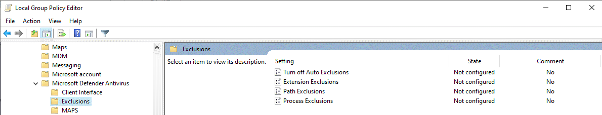 Exlusion settings in Windows Defender