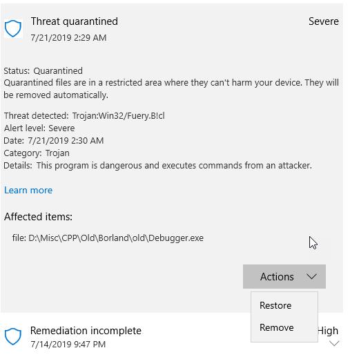 Windows Defender Restore