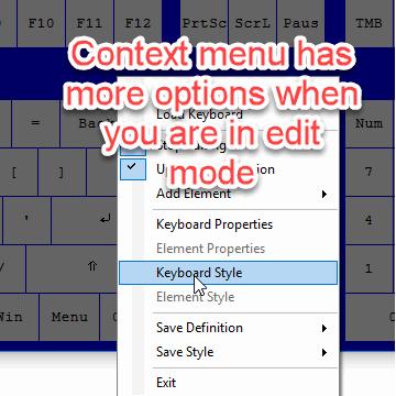 Nohboard context menu after entering edit-mode