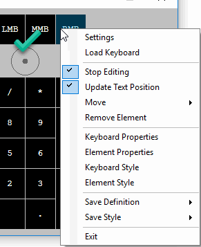 Right-Clicking on NohBoard after entering edit-mode, this is the right way