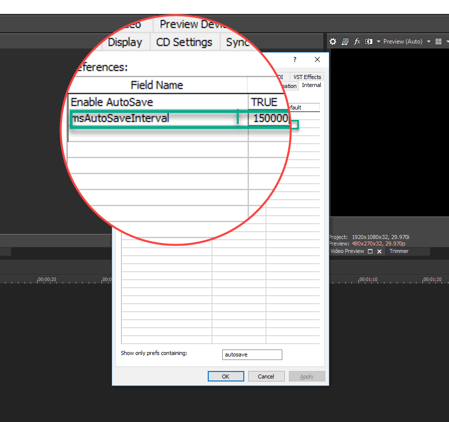 Changing Vegas Pro auto-save interval