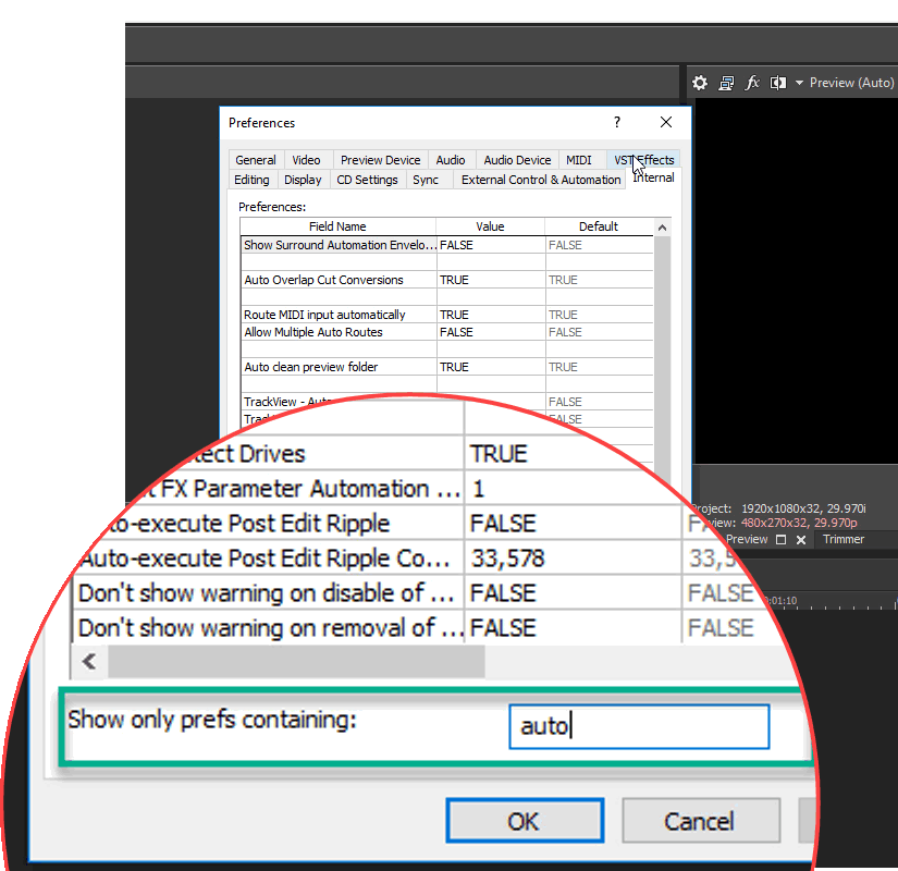 Searching internal preferences for auto-save