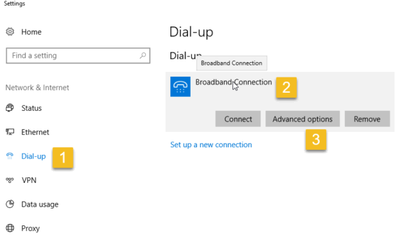 Windows 10 Settings App Dial-Up page