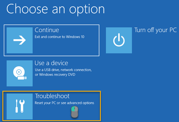 Main Screen of Windows's Boot Options Menu