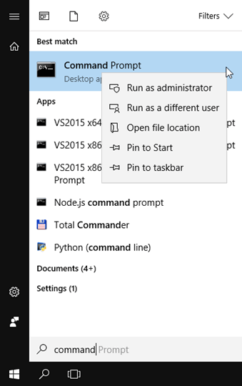 Starting Command Prompt as Administrator