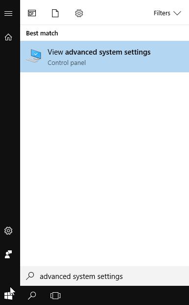 Launching advanced system settings from start menu