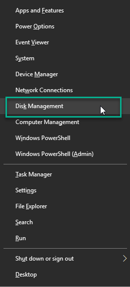 Quick Access menu with Disk management entry highlighted