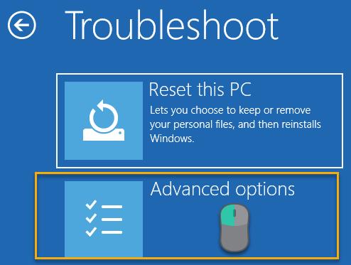 Troubleshoot screen of the Windows Boot Options Menu