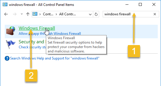 Searching for Windows Firewall in the control panel
