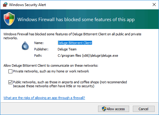 Windows firewall's security alert about an incoming connection