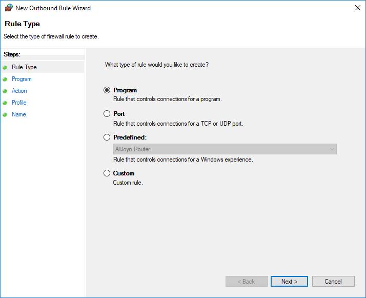New Rule Window - Rule Type pane