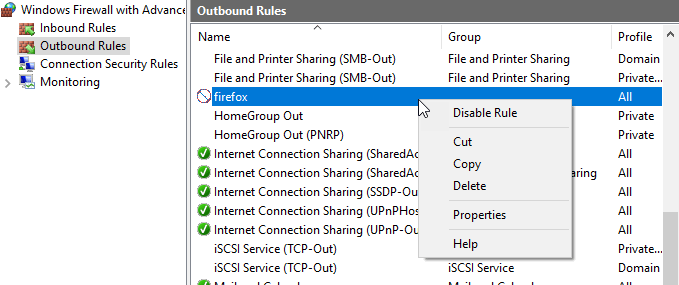 Outbound rules list, with context menu visible