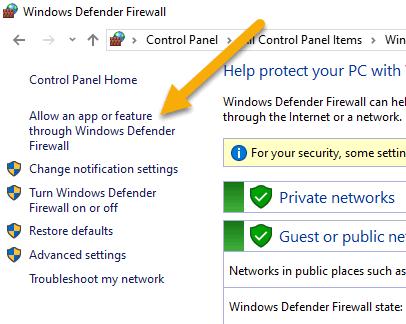 Basic settings window of Windows Firewall