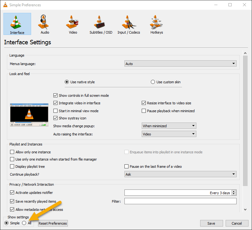 Simple Preferences Window with show all settings option highlighted