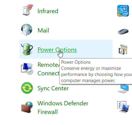 Choosing Power Options in Control Panel
