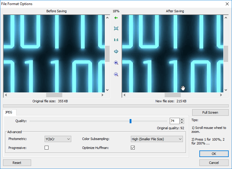 Compression Settings a.k.a. File Format Options