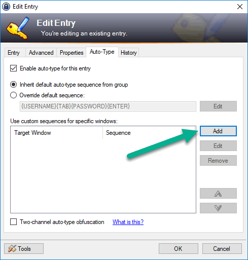 KeePass Auto-Type settings