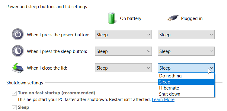 Power Settings relating to the laptop lid