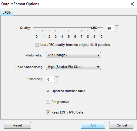FastStone batch convert Output Format Options