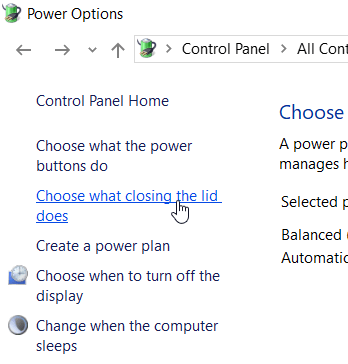Power Options window with Focus on the lid closing option