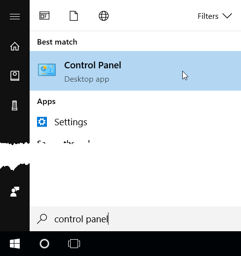 Searching for Control Panel from start menu
