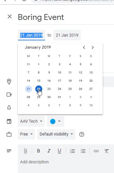 Changing Date in Google Calendar