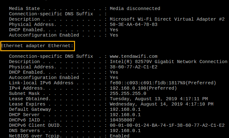 Output of ipconfig command