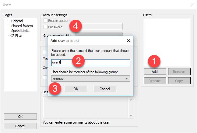 Filezilla Server Add user