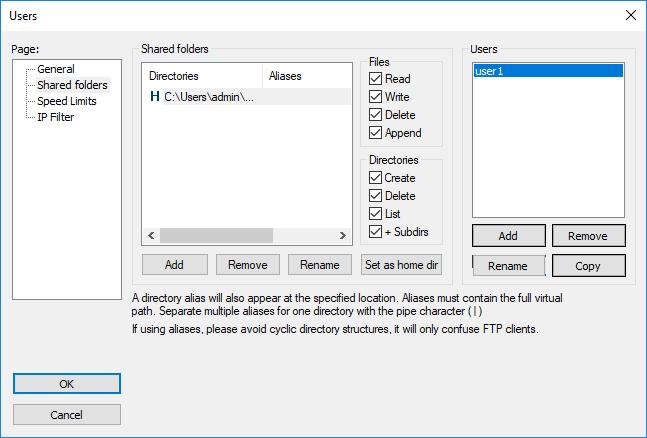 Filezilla Server shared folders