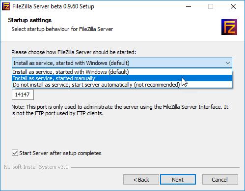 Filezilla Server startup settings