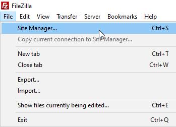 Filezilla File Menu