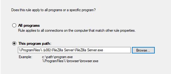 Filezilla Server Exception