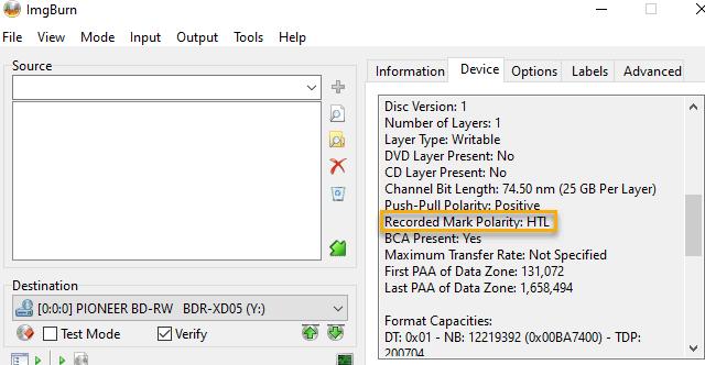 Imgburn write files folders mode with device pane highlighted