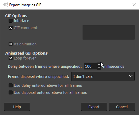 Export image dialog box in Gimp