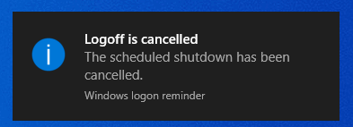 Logoff cancelled message