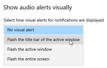Enabling visual alert for audio alert
